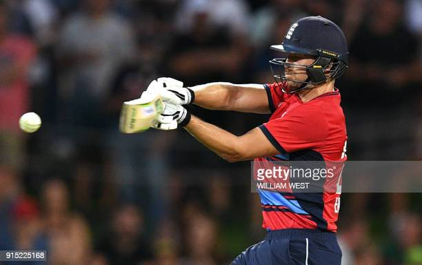 England batsman Dawid Malan attempts to pull a delivery from Australia's Andrew Tye during their Twenty20 cricket match at Bellerive Oval in Hobart...
