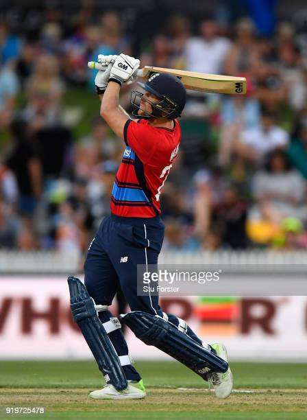 England batsman Dawid Malan hits a straight six during the International Twenty20 match between New Zealand and England at Seddon Park on February 18...