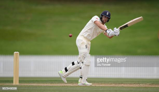 England batsman Dawid Malan hits out during day two of the Test warm up match between England and New Zealand Cricket XI at Seddon Park on March 17...