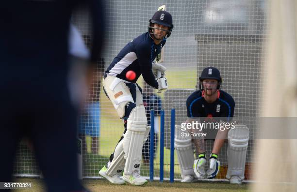 England batsman Dawid Malan in action as Ben Stokes looks on during England nets at Eden Park on March 20 2018 in Auckland New Zealand