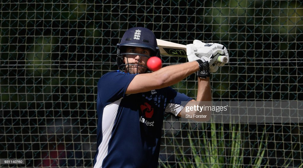 England batsman Dawid Malan in action during England nets ahead of their first warm up match at Seddon Park on March 13, 2018 in Hamilton, New Zealand.