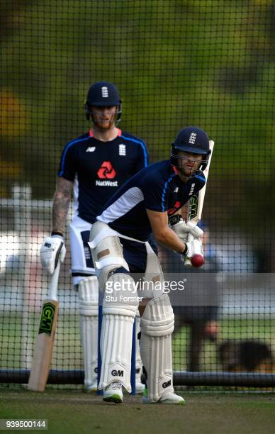 England batsman Dawid Malan in action watched by Ben Stokes during England nets ahead of the second test match against the New Zealand Black Caps at...