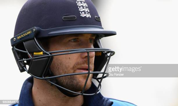 England batsman Dawid Malan looks on during England nets ahead of their first warm up match at Seddon Park on March 12 2018 in Hamilton New Zealand