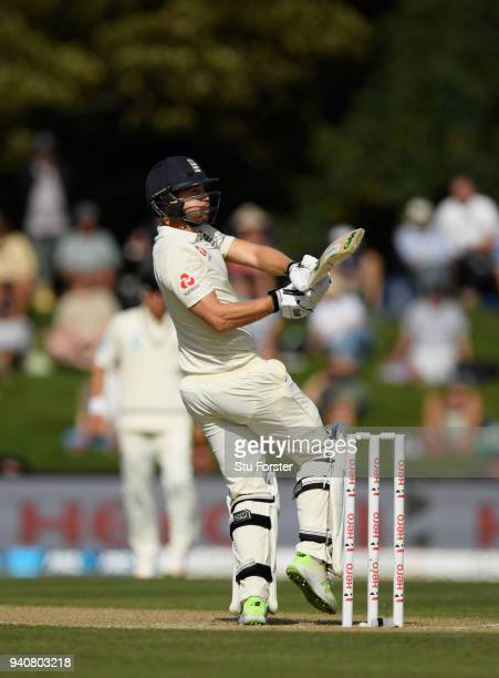England batsman Dawid Malan pulls a ball to the boundary during day four of the Second Test Match between the New Zealand Black Caps and England at...