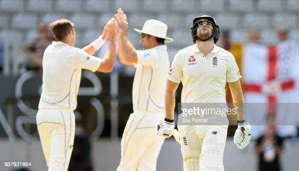 England batsman Dawid Malan reacts after being dismissed by Tim Southee during day five of the First Test Match between the New Zealand Black Caps...