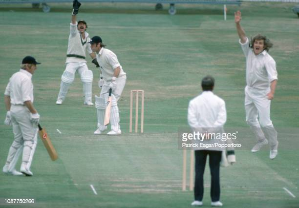 England batsman Dennis Amiss is out LBW for 2 runs by Gary Gilmour of Australia during the Prudential World Cup Semi Final between England and...