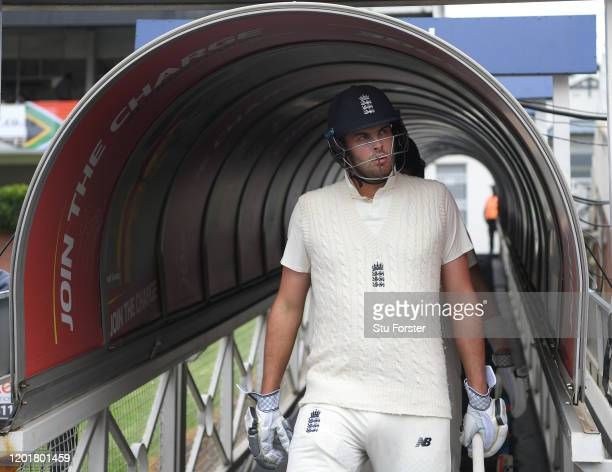 England batsman Dom Sibley comes out of the players tunnel before Day One of the Fourth Test between South Africa and England at The Wanderers on...