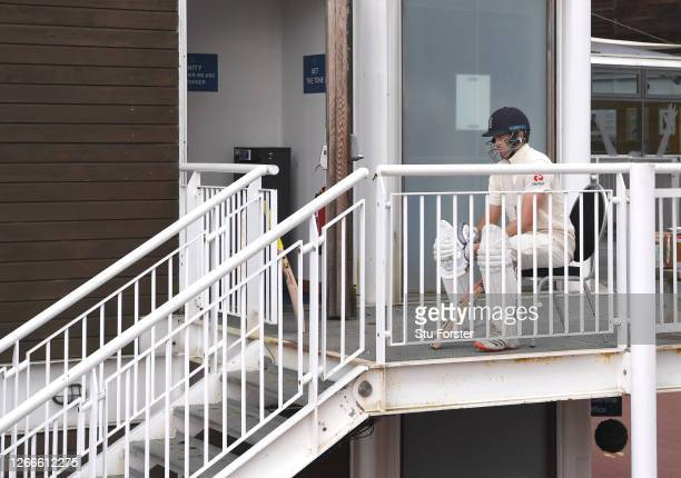 England batsman Dom Sibley sits on a chair waiting on the balcony before going out to bat during Day four of the 2nd #RaiseTheBat Test Match between...