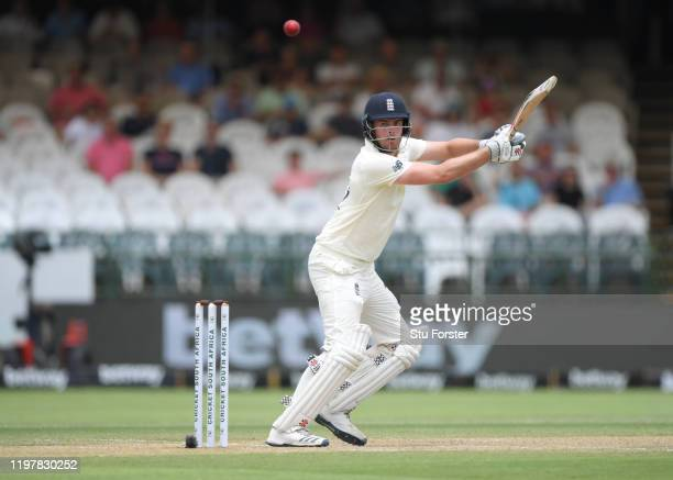 England batsman Dominic Sibley hits out during Day Four of the Second Test between South Africa and England at Newlands on January 06, 2020 in Cape...
