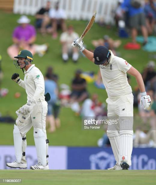England batsman Dominic Sibley reacts after being dismissed for 29 runs during Day Three of the First Test match between England and South Africa at...