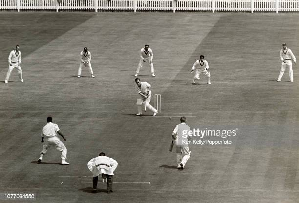 England batsman Doug Insole plays a delivery from West Indies bowler Roy Gilchrist during the 1st Test match between England and West Indies at...