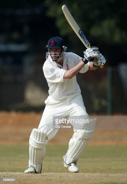 England batsman Ed Smith hits out during the One Day warm up game between Karnataka XI and England A at the Indian Air Force cricket ground on...