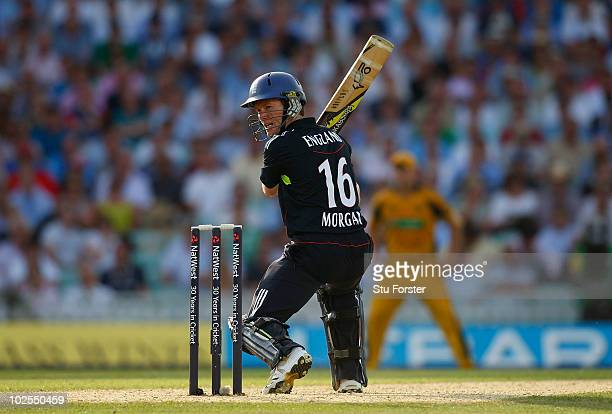 England batsman Eoin Morgan hits a ball to the boundary during the 4th NatWest ODI between England and Australia at The Brit Oval on June 30 2010 in...