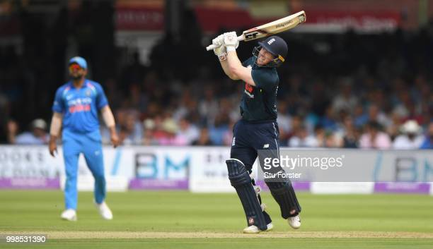 England batsman Eoin Morgan hits out during the 2nd ODI Royal London One Day International match between England and India at Lord's Cricket Ground...