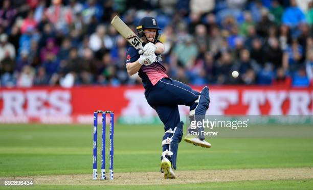 England batsman Eoin Morgan hits out during the ICC Champions Trophy match between England and New Zealand at SWALEC Stadium on June 6 2017 in...