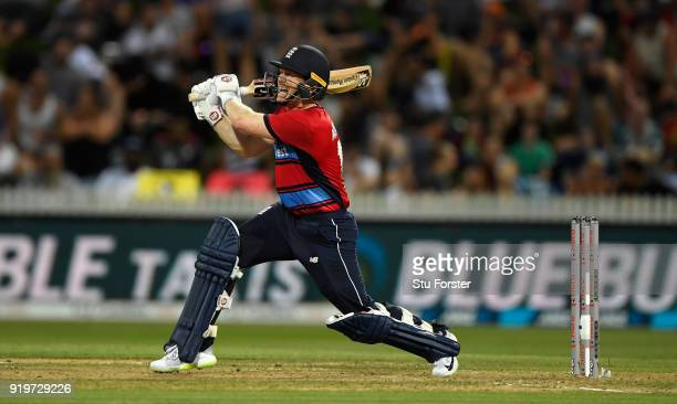 England batsman Eoin Morgan hits out during the International Twenty20 match between New Zealand and England at Seddon Park on February 18 2018 in...