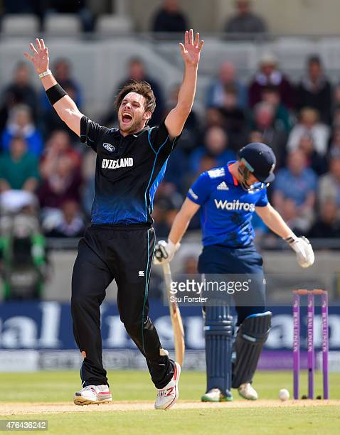 England batsman Eoin Morgan is dismissed LBW by New Zealand bowler Mitchell McClenaghan during the 1st Royal London One Day international between...