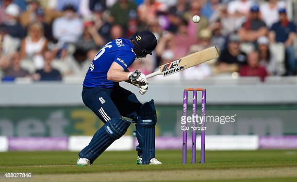England batsman Eoin Morgan is hit on the helmet by a ball from Mitchell Starc and retires hurt during the 5th Royal London OneDay International...