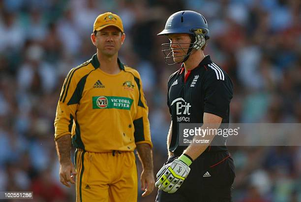 England batsman Eoin Morgan leaves the field after being dismissed as Ricky Ponting looks on during the 4th NatWest ODI between England and Australia...