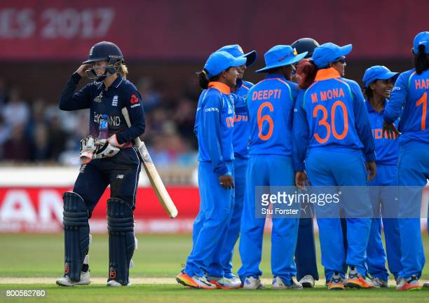 England batsman Frances Wilson reacts after being run out during the ICC Women's World Cup 2017 match between England and India at The 3aaa County...