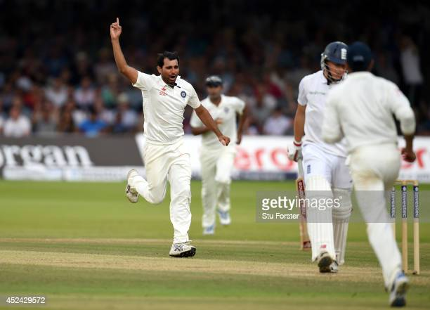 England batsman Gary Ballance is dismissed by Mohammed Shami during day four of 2nd Investec Test match between England and India at Lord's Cricket...