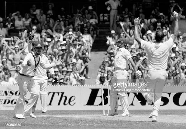 England batsman Geoffrey Boycott is bowled for 7 runs by Dennis Lillee of Australia during the 3rd Test match between Australia and England at the...