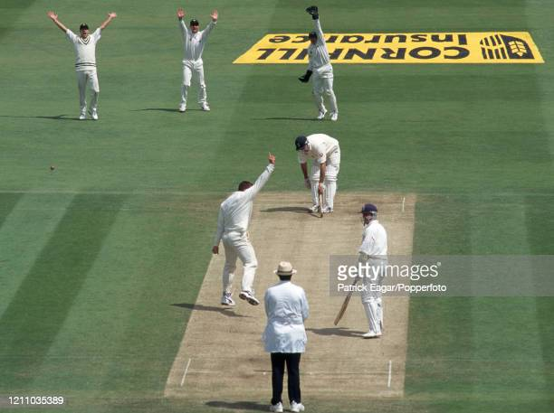 England batsman Graeme Hick is out LBW for 101 to Heath Streak of Zimbabwe during the 1st Test match between England and Zimbabwe at Lord's Cricket...