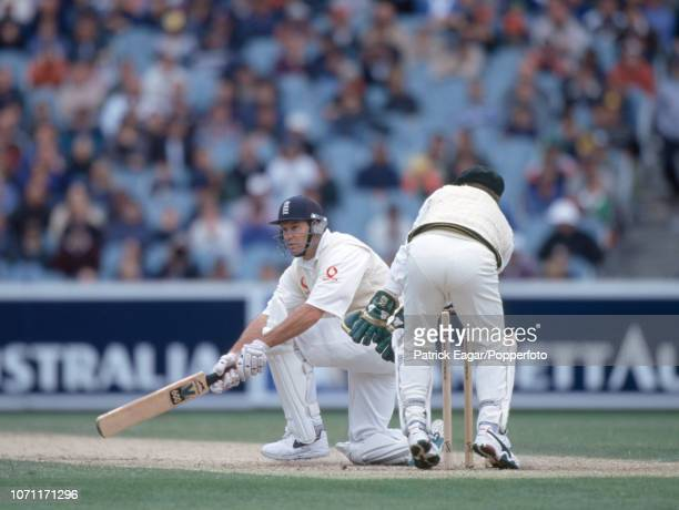 England batsman Graeme Hick plays a sweep shot during the 4th Ashes Test match between Australia and England at the MCG Melbourne Australia 29th...