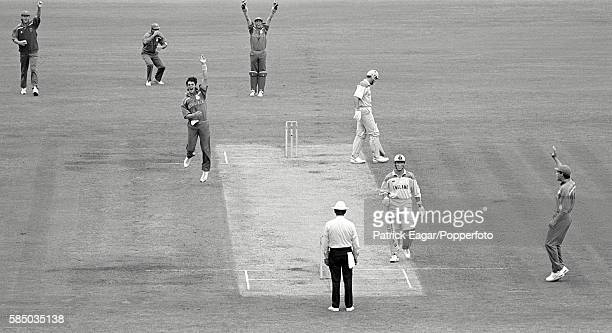 England batsman Graeme Hick survives an lbw appeal from Meyrick Pringle of South Africa during the Benson and Hedges World Cup Semi Final between...
