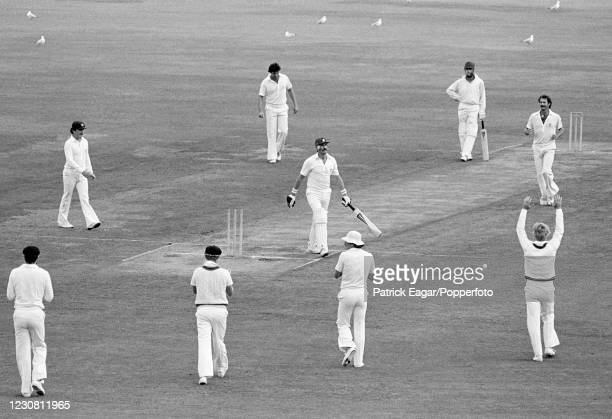 England batsman Graham Gooch is bowled for 8 runs by Dennis Lillee of Australia during the 2nd Test match between Australia and England at the SCG,...