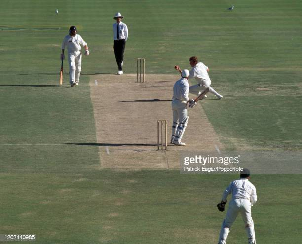 England batsman Graham Gooch is caught and bowled for 4 runs by Craig McDermott of Australia during the 5th Test match between Australia and England...