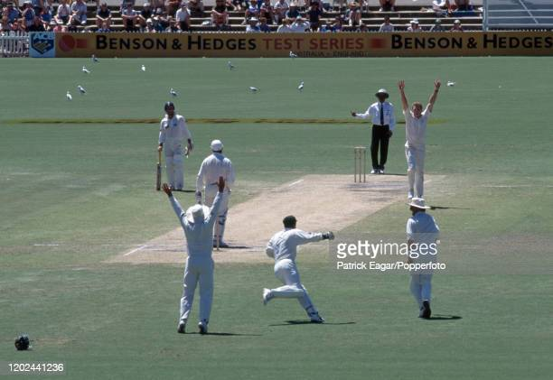 England batsman Graham Gooch is caught behind for 34 runs by Australia's wicketkeeper Ian Healy off the bowling of Craig McDermott during the 4th...