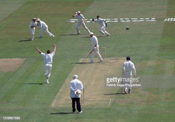 England batsman Graham Gooch is caught for a firstball duck by Bryan Young of New Zealand off the bowling of Dion Nash during the 3rd Test match...
