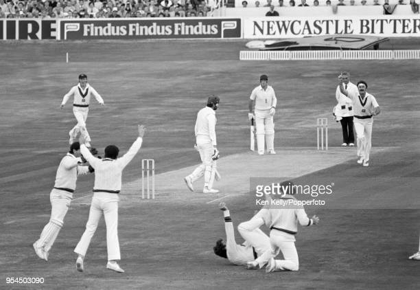 England batsman Graham Gooch is out, caught by Terry Alderman off the bowling of Dennis Lillee for 0 in the 2nd innings of the 3rd Test match between...