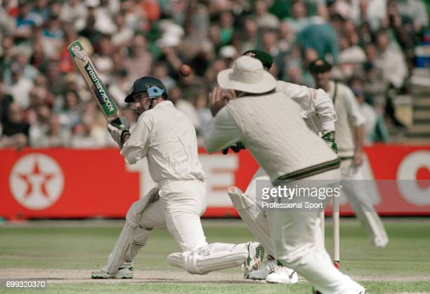 England batsman Graham Thorpe edges the ball onto his pad and is caught by Mark Taylor of Australia in the 3rd Test match between England and...