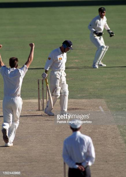 England batsman Graham Thorpe is caught for a firstball duck by Greg Blewett of Australia off the bowling of Glenn McGrath during the 5th Test match...