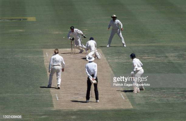 England batsman Graham Thorpe is stumped for 123 by Ian Healy of Australia off the bowling of Shane Warne during the 5th Test match between Australia...
