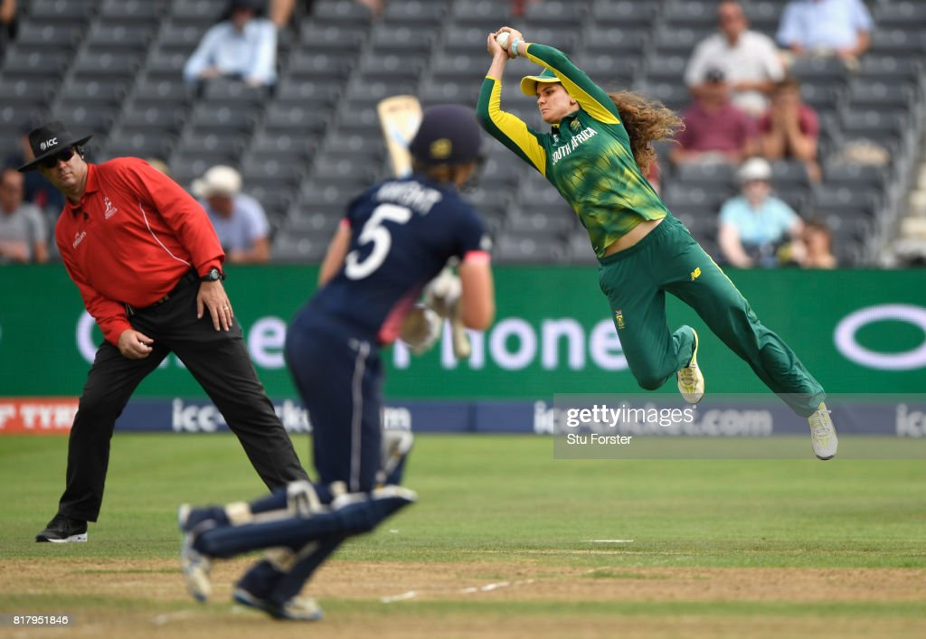England batsman Heather Knight is caught by Laura Wolvaartd during the ICC Women's World Cup 2017 Semi-Final at The County Ground on July 18, 2017 in Bristol, England.