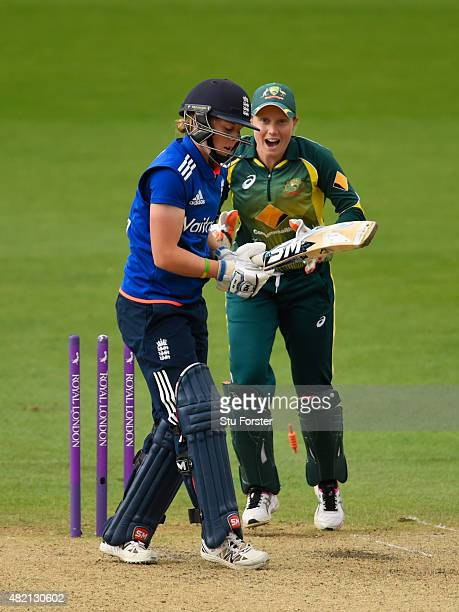England batsman Heather Knight is dismissed by Jess Jonassen as keeper Healy celebrates during the 3rd Royal London ODI of the Women's Ashes Series...