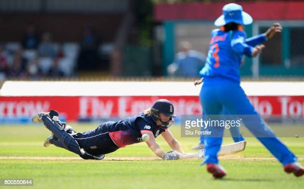 England batsman Heather Knight is run out during the ICC Women's World Cup 2017 match between England and India at The 3aaa County Ground on June 24...