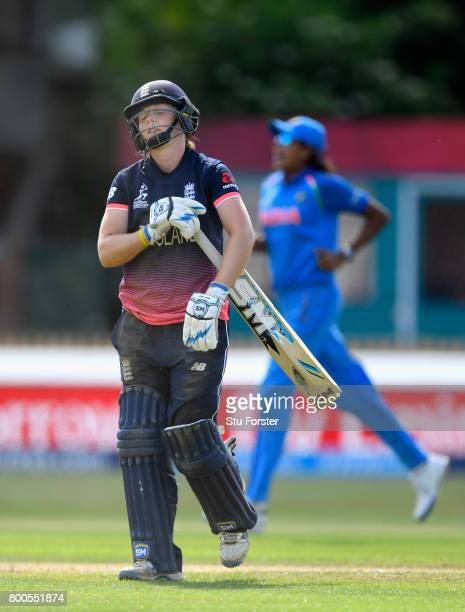 England batsman Heather Knight reacts after being run out during the ICC Women's World Cup 2017 match between England and India at The 3aaa County...
