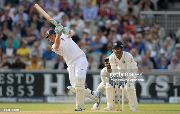 England batsman Ian Bell hits a six during his innings of 58 runs in the 4th Test match between England and India at Old Trafford Manchester 7th...