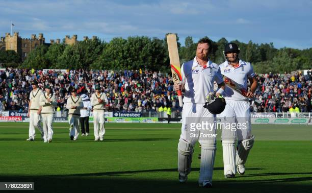 England batsman Ian Bell leaves the field with Tim Bresnan after play ends on day three of 4th Investec Ashes Test match between England and...