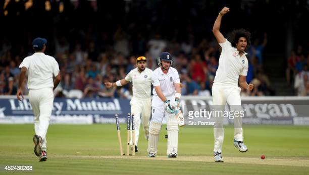 England batsman Ian Bell looks on in disbelief as India bowler Ishant Sharma celebrates during day four of 2nd Investec Test match between England...