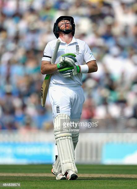 England batsman Ian Bell reacts after being dismissed during day three of the 5th Investec Ashes Test match between England and Australia at The Kia...