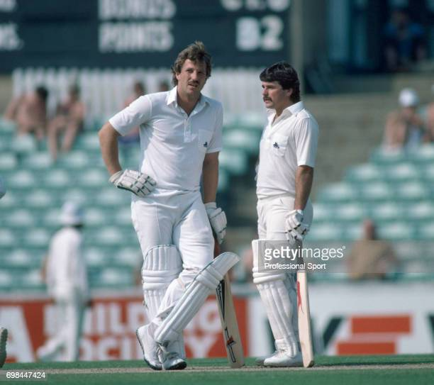 England batsman Ian Botham and Allan Lamb during their 4th wicket partnership of 176 in the 3rd Test match between England and India at The Oval...