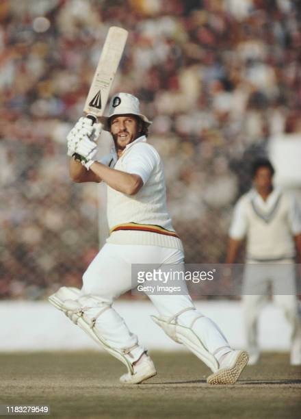 England batsman Ian Botham hits out during his half century during the 3rd Test Match between India and England at Feroz Shah Kotla Delhi India