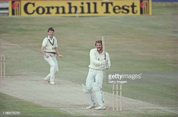 England batsman Ian Botham smiles as he hits out off the bowling of Geoff Lawson during his 149* during the 2nd Innings of the 3rd Cornhill Test...