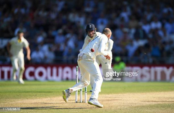 England batsman Jack Leach evades being run out by Nathan Lyon during day four of the 3rd Ashes Test Match between England and Australia at...