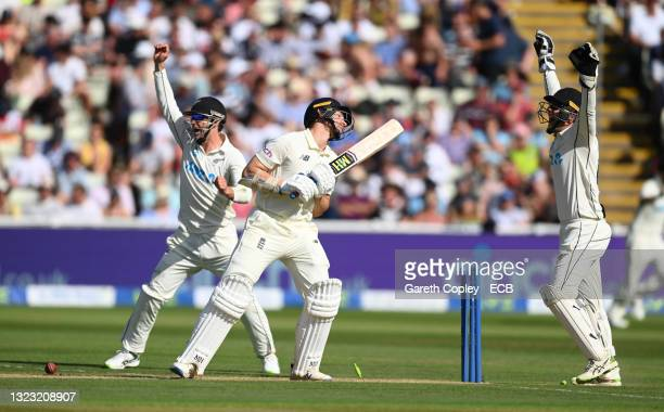 England batsman James Bracey reacts after being dismissed for 8 runs during day three of the second LV= Insurance Test Match between England and New...